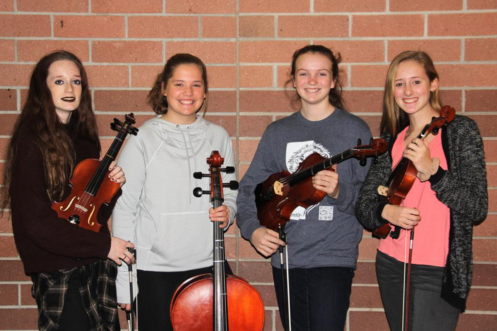 ERMS students Emma Risinger, Chloe LaPlante, Sydney Kreuger and Elaina Derksen will perform with the MSBOA District X Honors Orchestra on January 12, 2019.