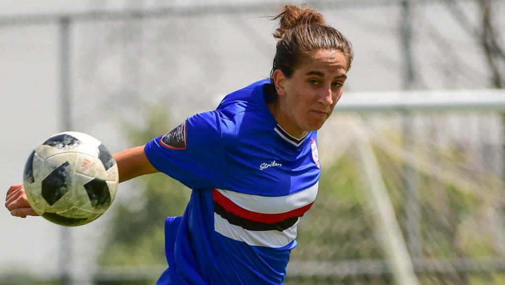 """Woodbridge Strikers midfielder Cat Rogers – a three-time L1O all-star – is one of 52 Womens Division players set to take on a Canada Soccer """"C"""" License Course. (Martin Bazyl/League1 Ontario)"""