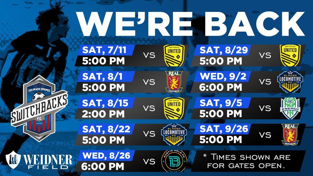 Colorado Springs F-C 2020 Schedule