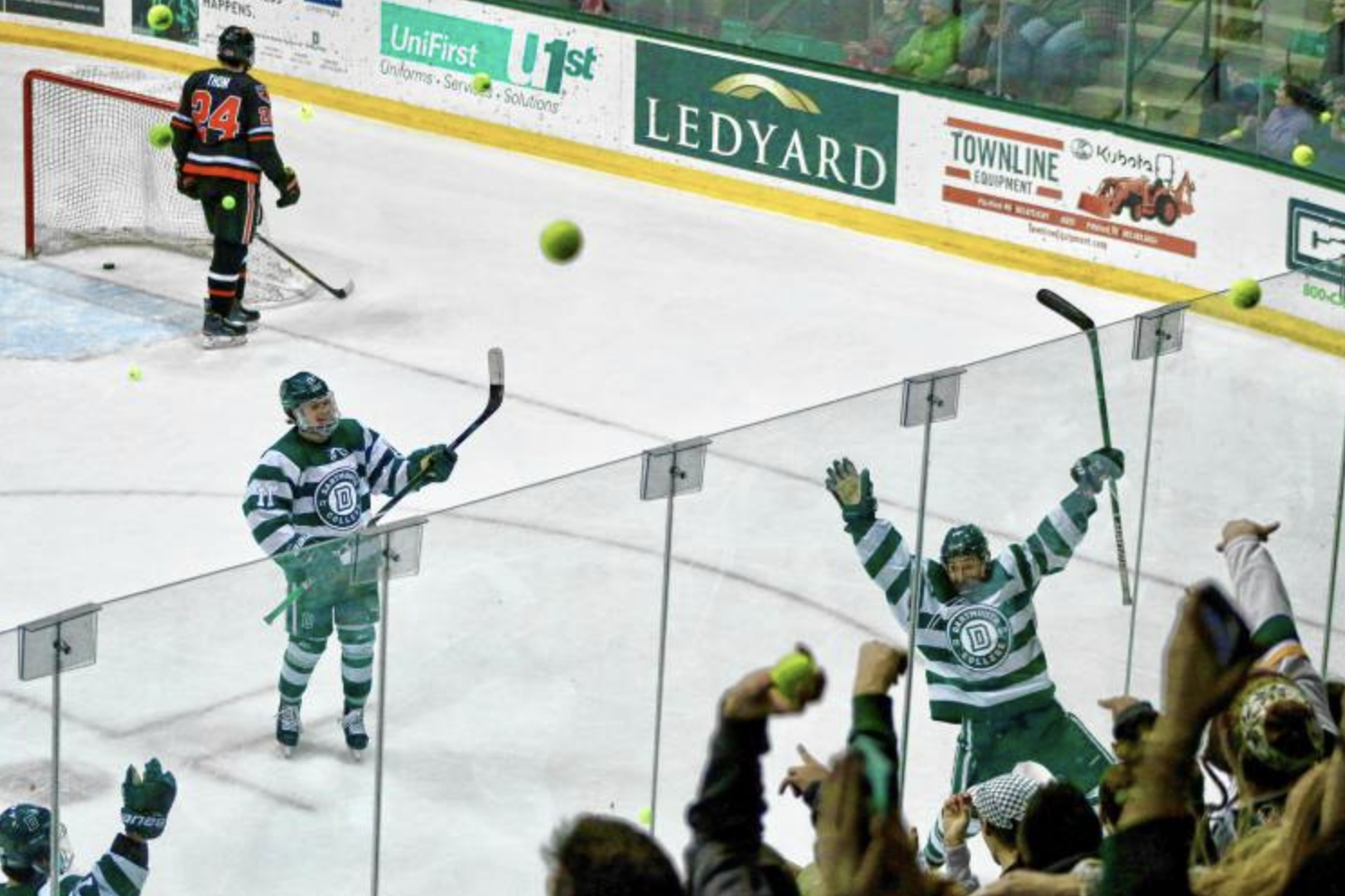 Dartmouth hockey fans have made a tradition at the team's games against rival Cornell by throwing tennis balls on the ice after the Big Green's first goal of the game. Photo courtesy of Valley News