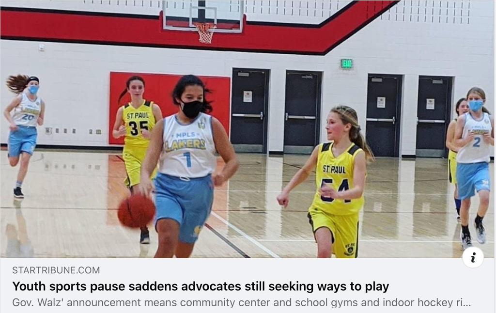 Star Tribune article featuring mask wearing Minneapolis Lakers players during Covid Pandemic