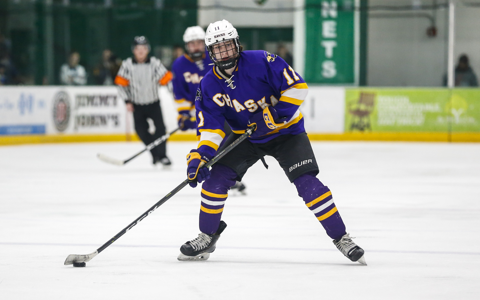 Chaska's Zach Seltun (11) looks for options on a power play against Prior Lake. Seltun had a goal and two assists in the Hawks' 4-1 victory over the Lakers Saturday afternoon at Braemar Arena. Photo by Jeff Lawler, SportsEngine