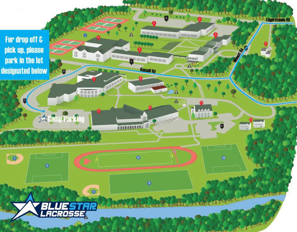 Blue Star Field Hockey Camp at The Hun School of Princeton Parking Map