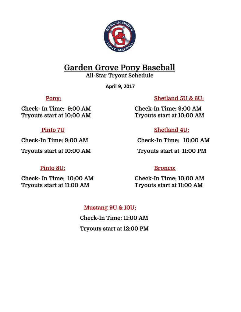 All-Star Tryout Schedule