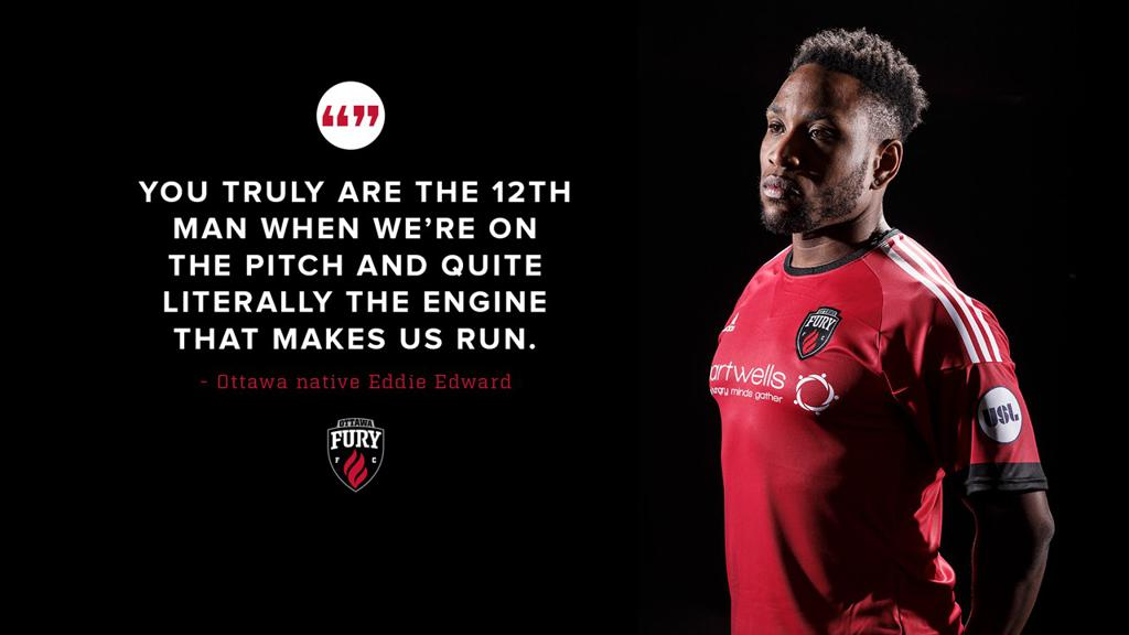 "Eddie Edward with text, ""you truly are the 12th man when we're on the pitch and quite literally the engine that makes us run."""