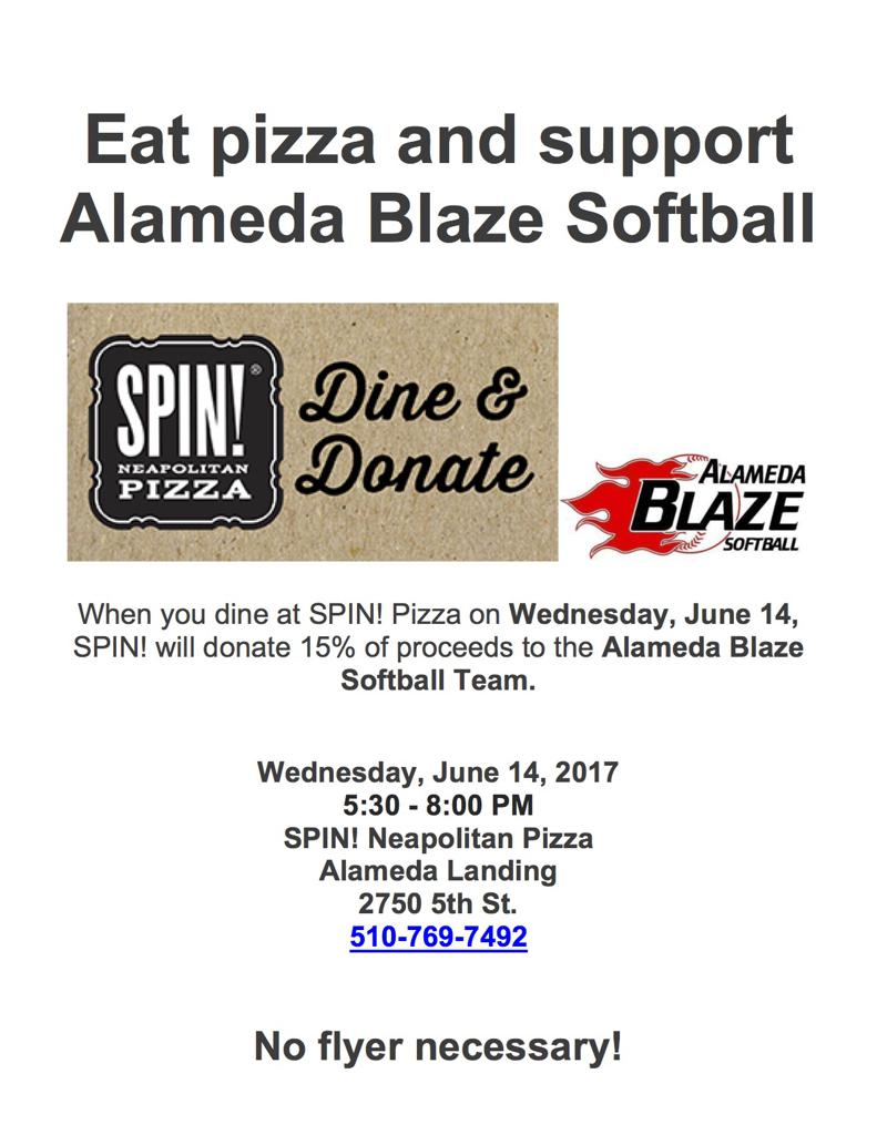 Blaze Fundraiser at SPIN! Pizza