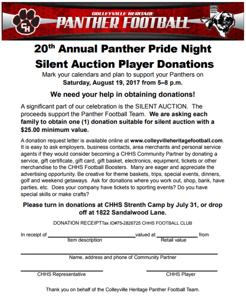 donation request letter for silent auction panther pride family player donations needed 14361