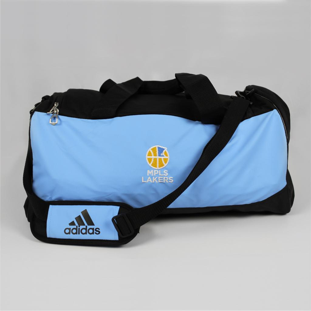 Mpls Lakers Duffle Bag for players, features an embroidered logo - Front View 1