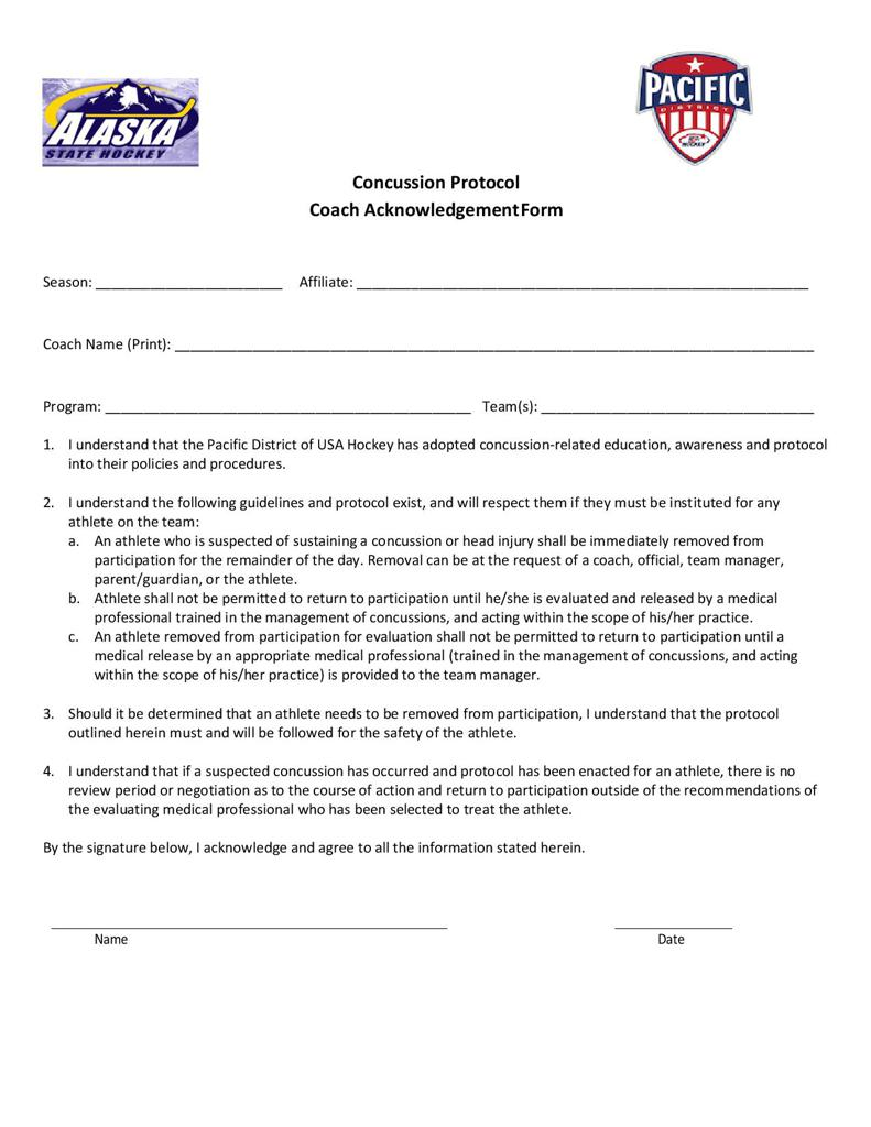 Concussion Protocol, Coach Acknowledgement Form