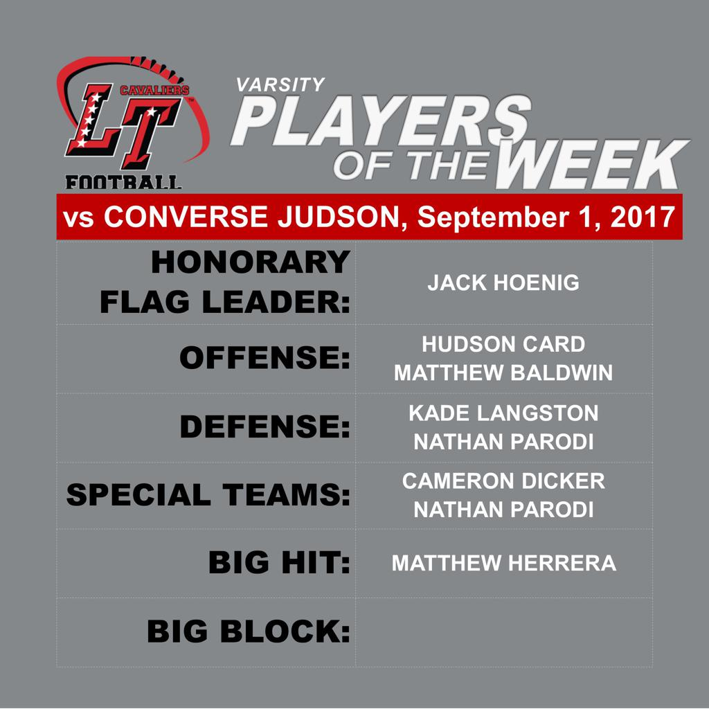 Players of the Week vs Converse Judson
