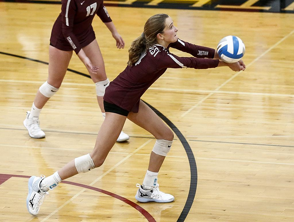 Sophomore outside hitter Estelle Haugen receives a serve in the second set. Haugen led the Stars with 13 kills at Mayer Lutheran High School on Thursday night.  Photo by Cheryl A. Myers, SportsEngine