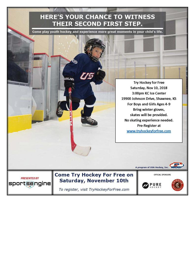 Try Hockey For Free Saturday Nov 10th 3:00pm at KC Ice Center in Shawnee, KS