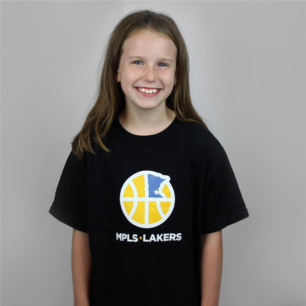Young Girl wearing black T-Shirt with Mpls Lakers Logo and Text