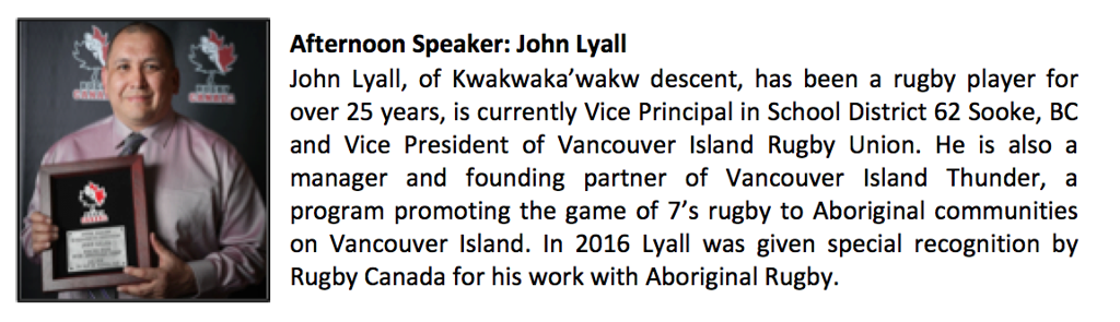 We are happy to announce our Lunch Speaker: John Lyall - Aboriginal Thunder Rugby