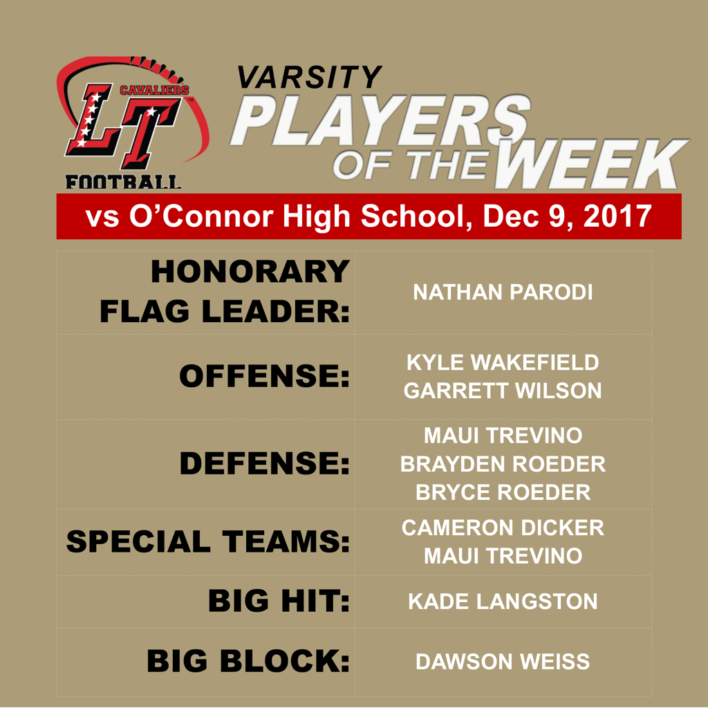 Quarterfinal Playoffs:  Lake Travis Players of the Week vs O'Connor HS