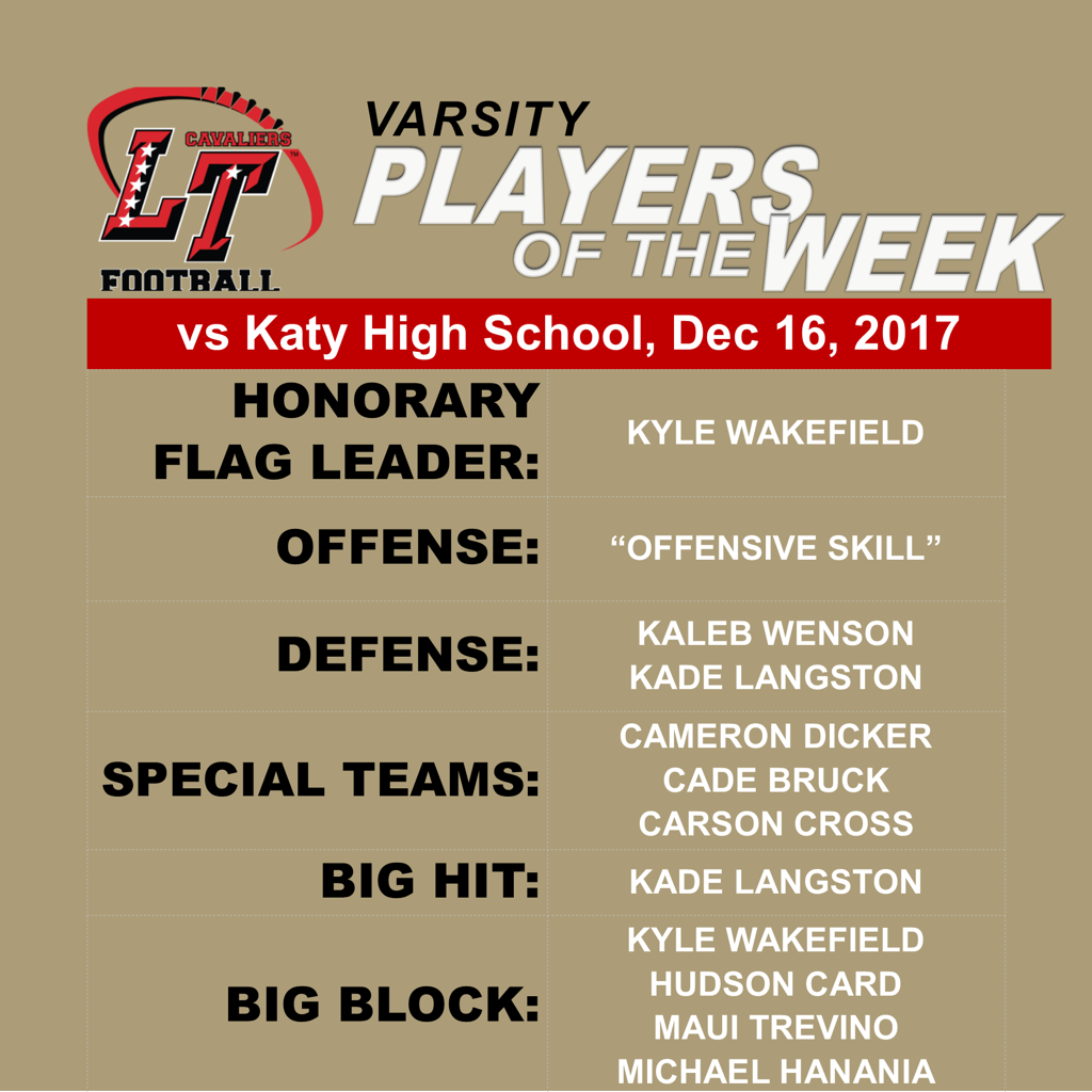 PLAYERS OF THE WEEK - Semi-Final Playoff Game vs Katy 12/16/2017