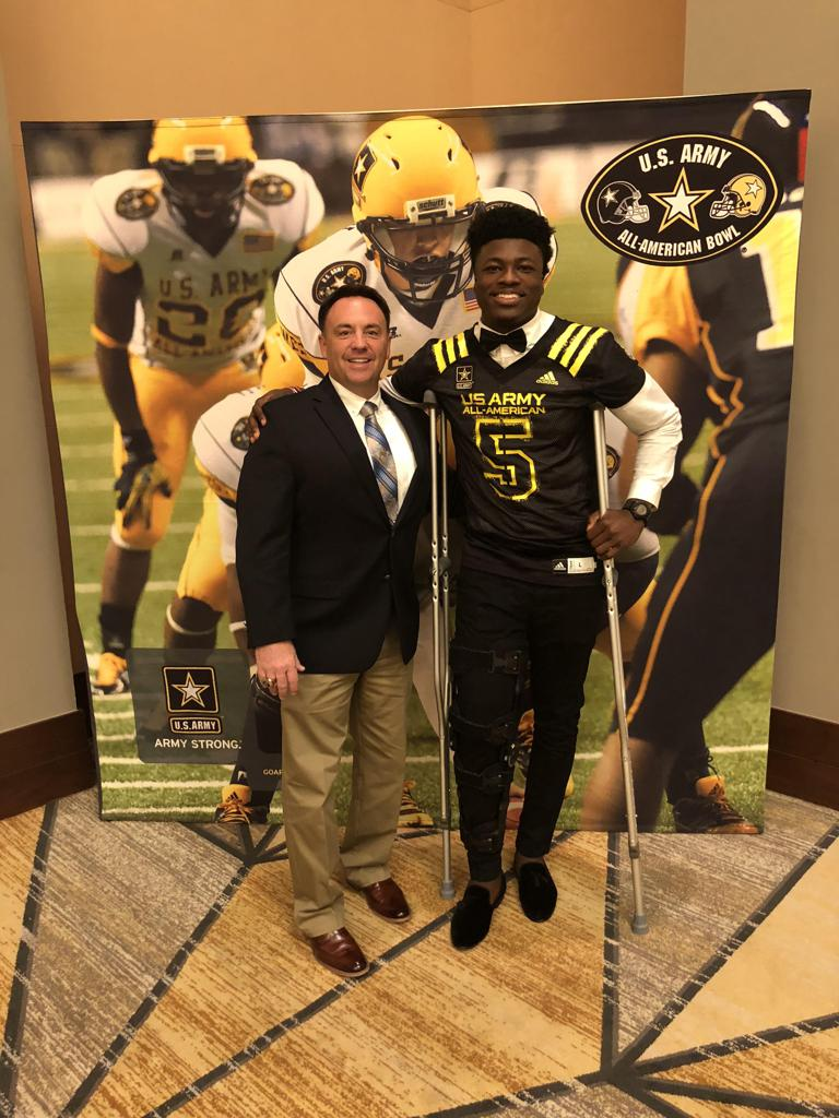 Coach Richard Morgan And 2018 All American Azeez Ojulari Dollar the 2018 US Army All American Bowl Game