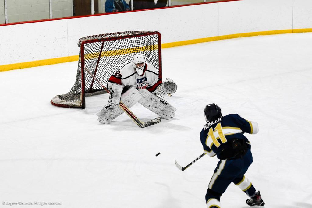 Nick Schulte makes a save against the Eugene Generals.