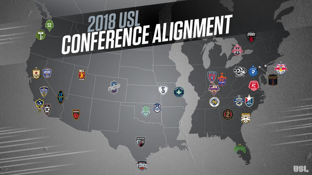 Map of where each USL team is located in North America