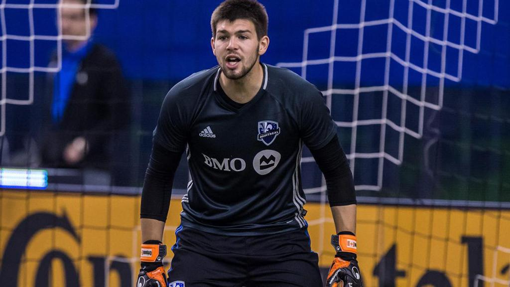 Maxime Crépeau yells as he's in goal for the Impact.
