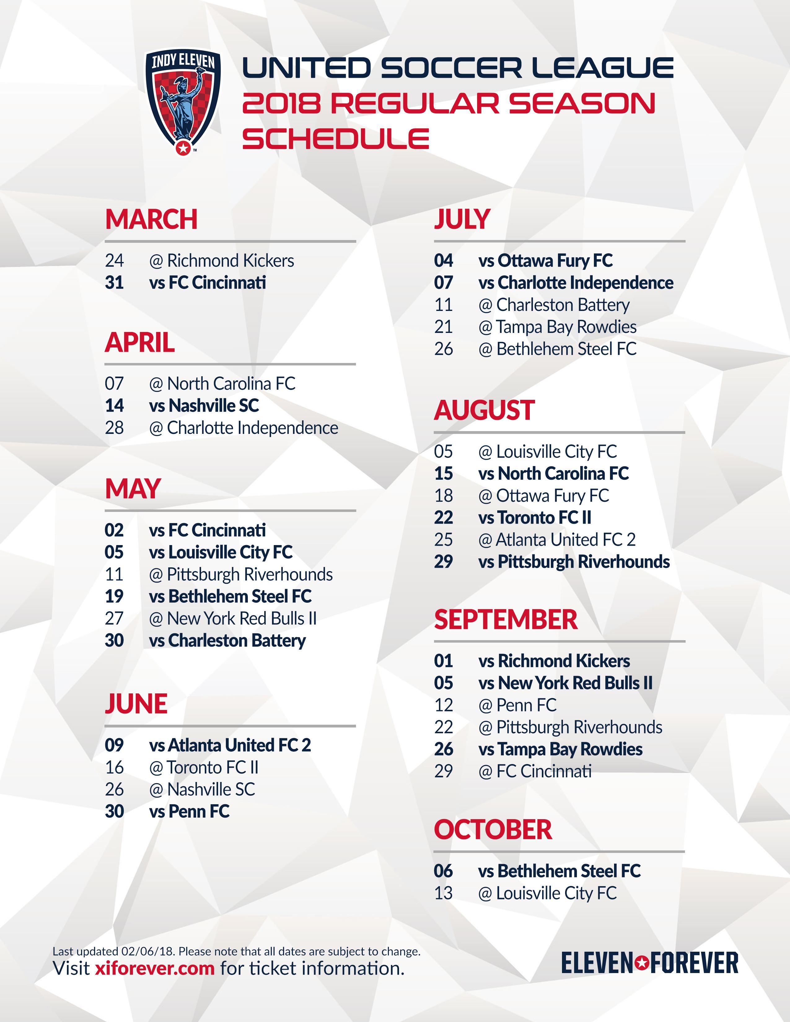 Indy Eleven 2018 Schedule