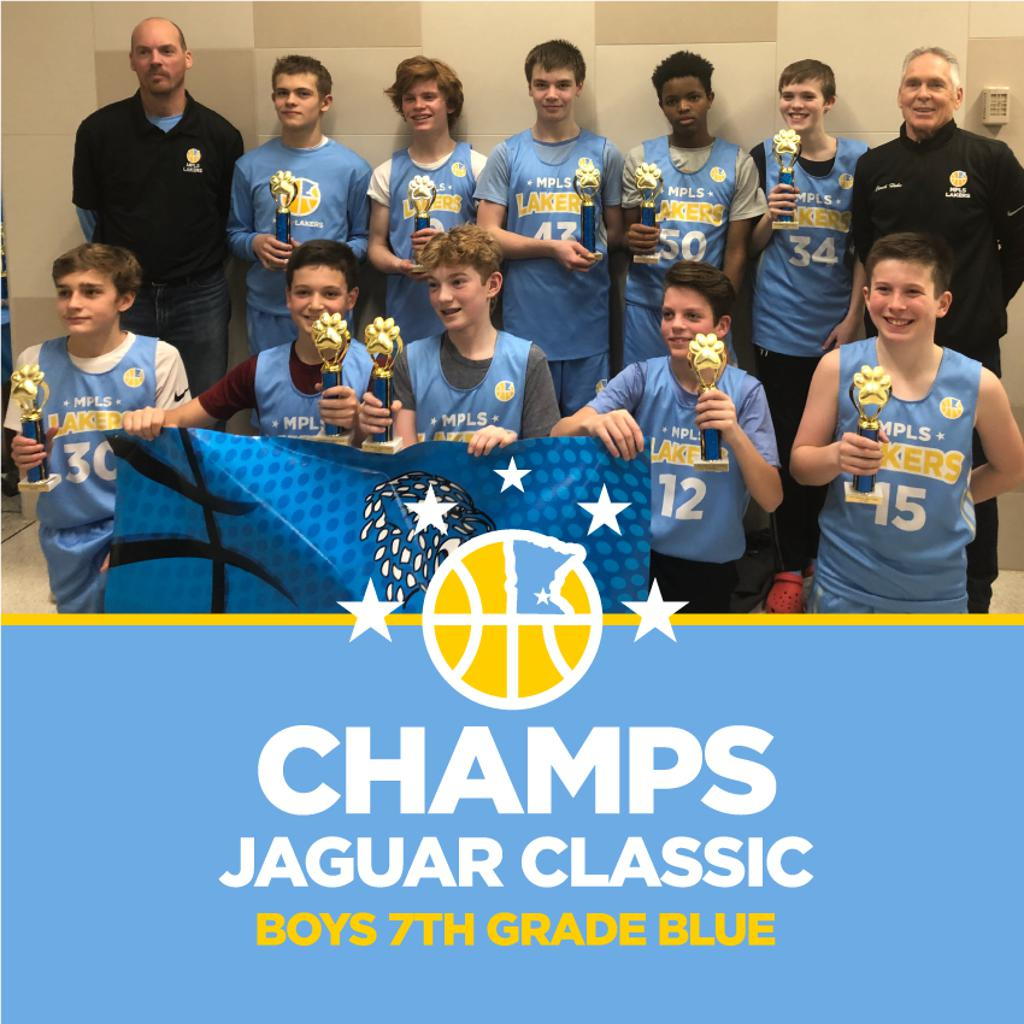 Minneapolis Lakers Boys 7th Grade Blue pose with their first place trophies at the Jefferson Jaguar Classic in Bloomington, MN
