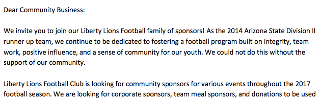 Phoenix area high school football program a magnet for fans sponsors sample of sponsorship letter click to view full document altavistaventures Images