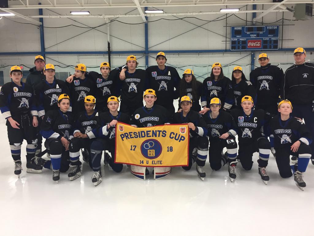 Chicago Bulldogs Bantam Major 03s win 2017-2018 NIHL Presidents Cup Banner