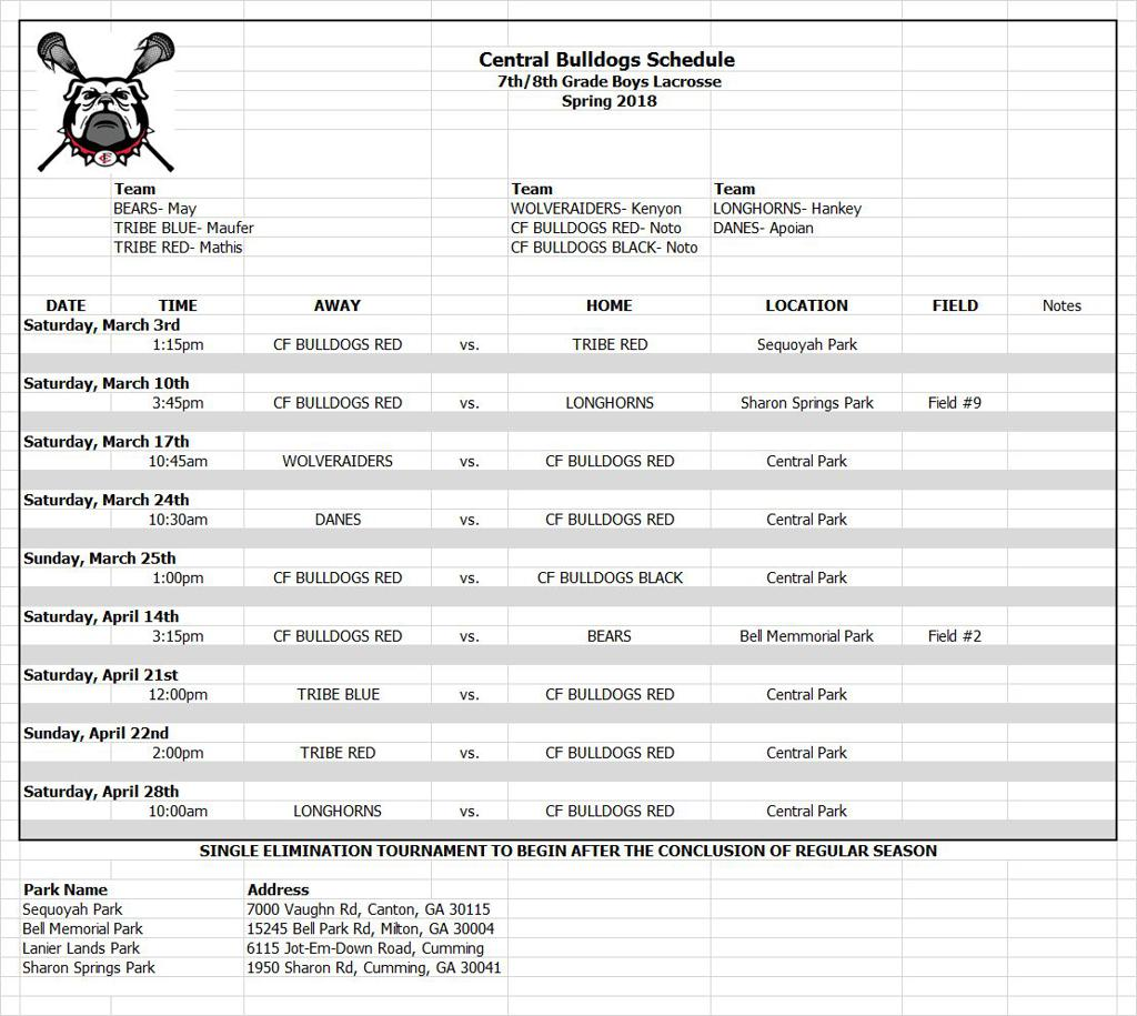 U15 Bulldogs RED Schedule