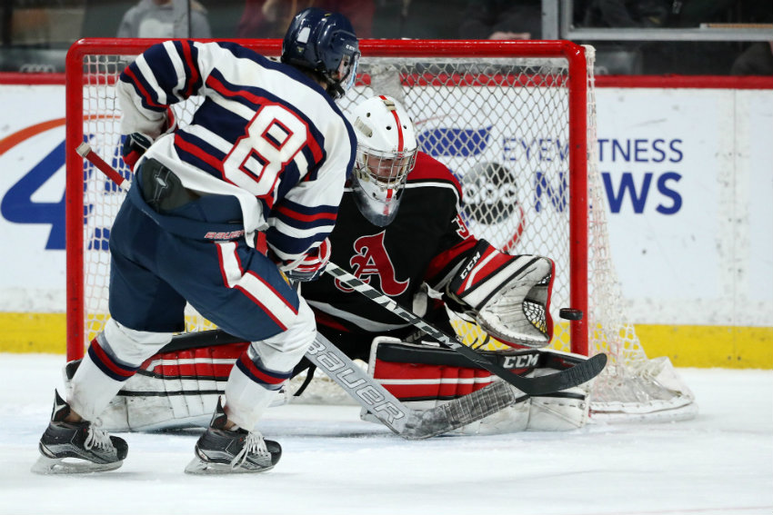 Orono forward Billy Lynch (8) took a short-handed shot on Alexandria goaltender Jackson Boline (30) in the first period of the Class 1A championship. Star Tribune photo by Anthony Souffle
