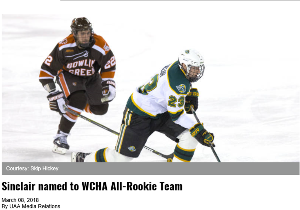 Congratulations to former Thistle Eric Sinclair on being named to the WCHA All-Rookie Team
