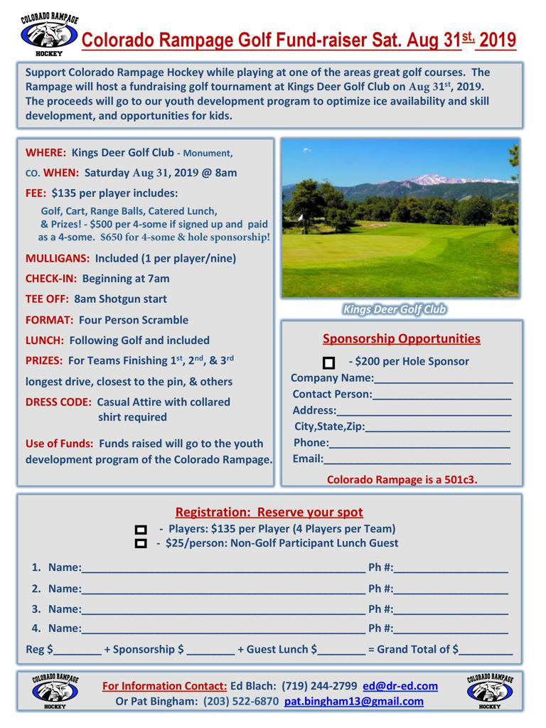 Rampage Golf Tournament Fundraising Colorado Springs