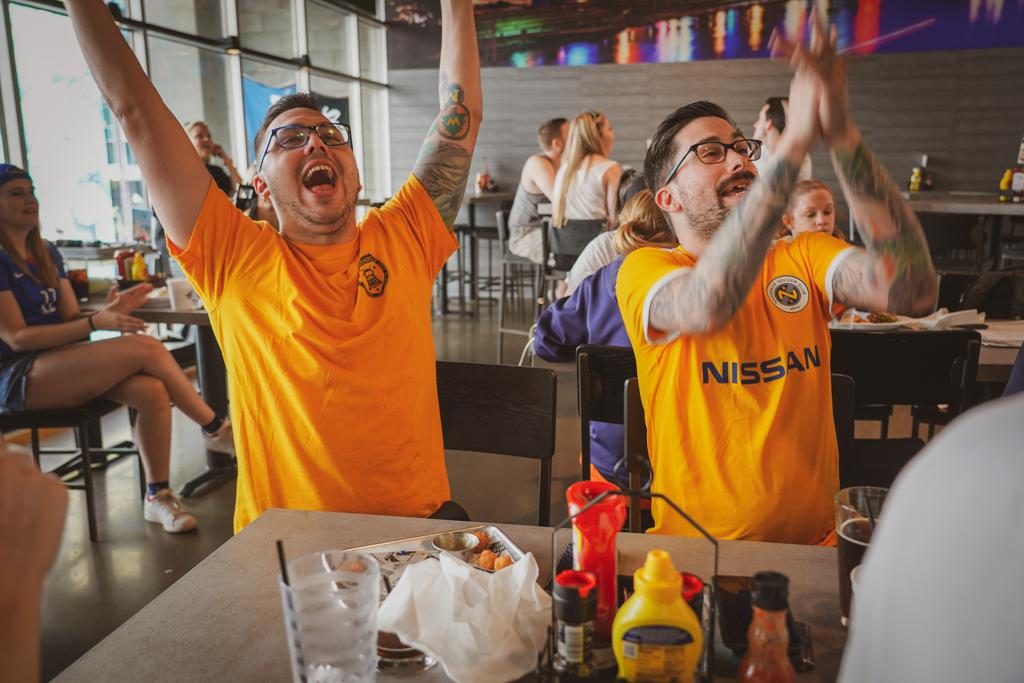 Nashville SC Fans Cheer at a Watch Party