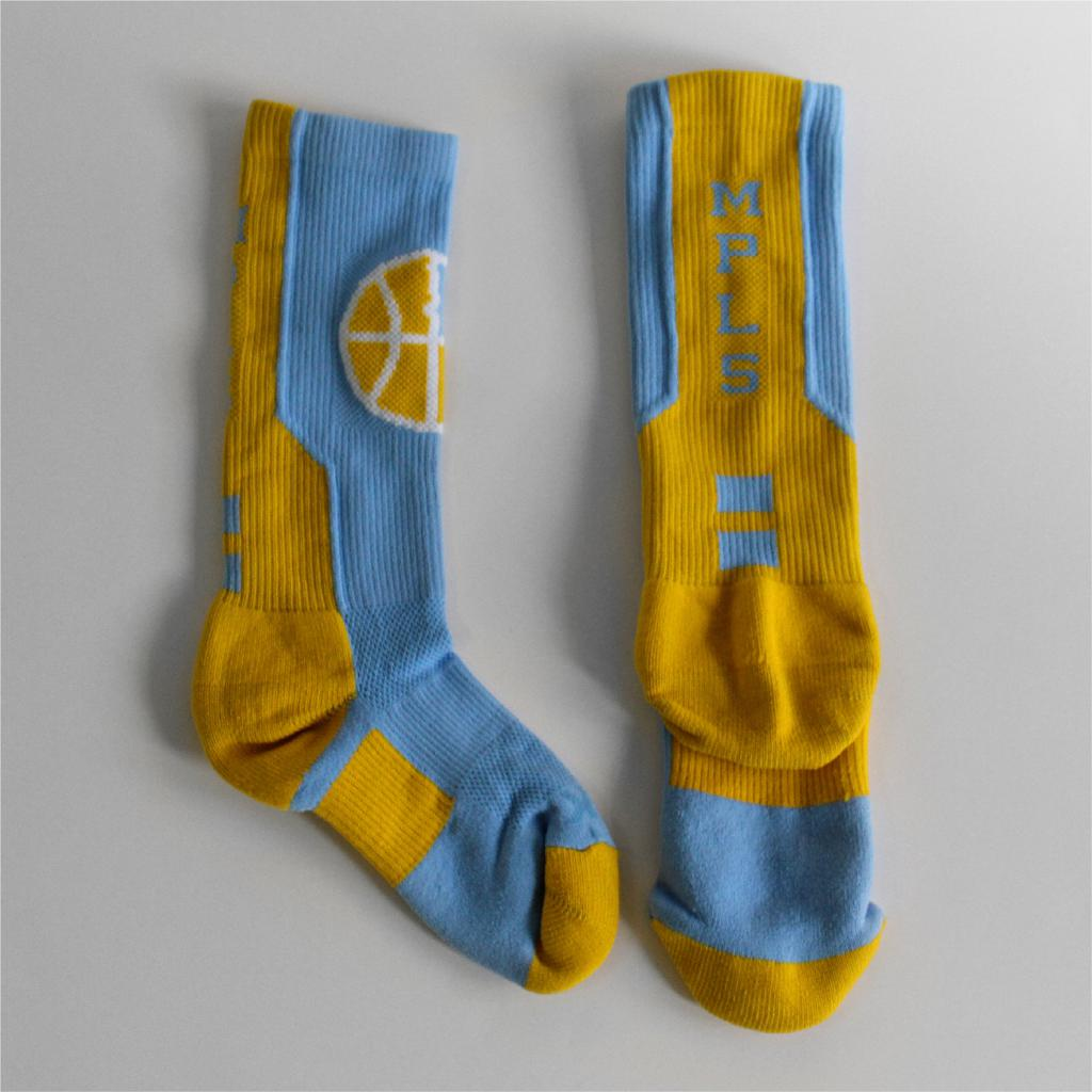 "Mpls Lakers athletic socks with in-knit logo and letters ""MPLS"""