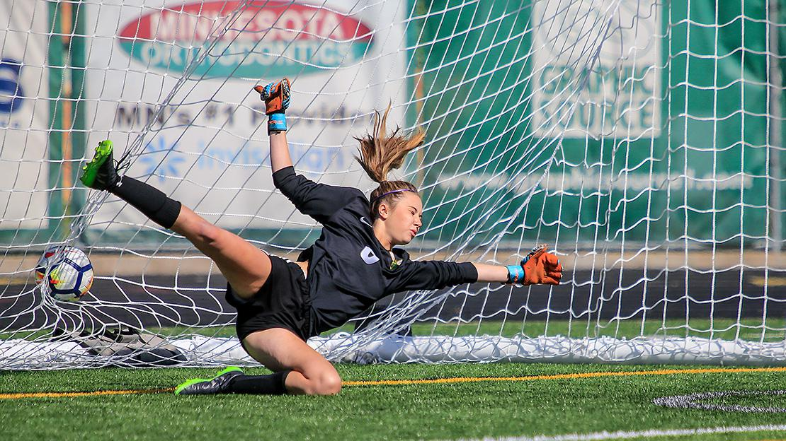 Edina goalie Olivia Johnson came up empty in an attempt to stop a penalty shot by the Knights' Taylor Beeler late in the first half. Photo by Mark Hvidsten, SportsEngine