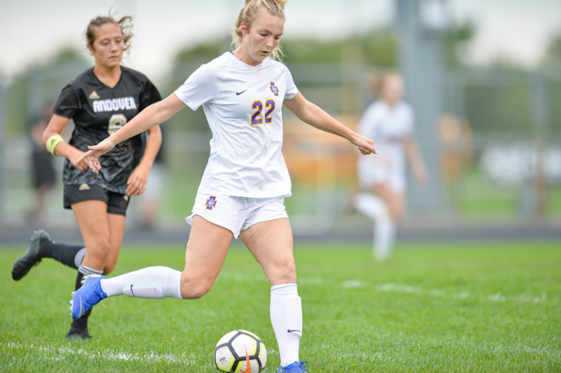Paige Peltier (No. 22) of Cretin-Derham Hall was selected this year's Ms. Soccer award winner for Class 2A. Peltier led the state with 41 goals this season. Photo by Earl J. Ebensteiner, SportsEngine