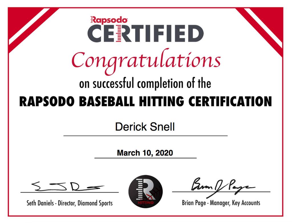 Rapsodo Hitting Certificate
