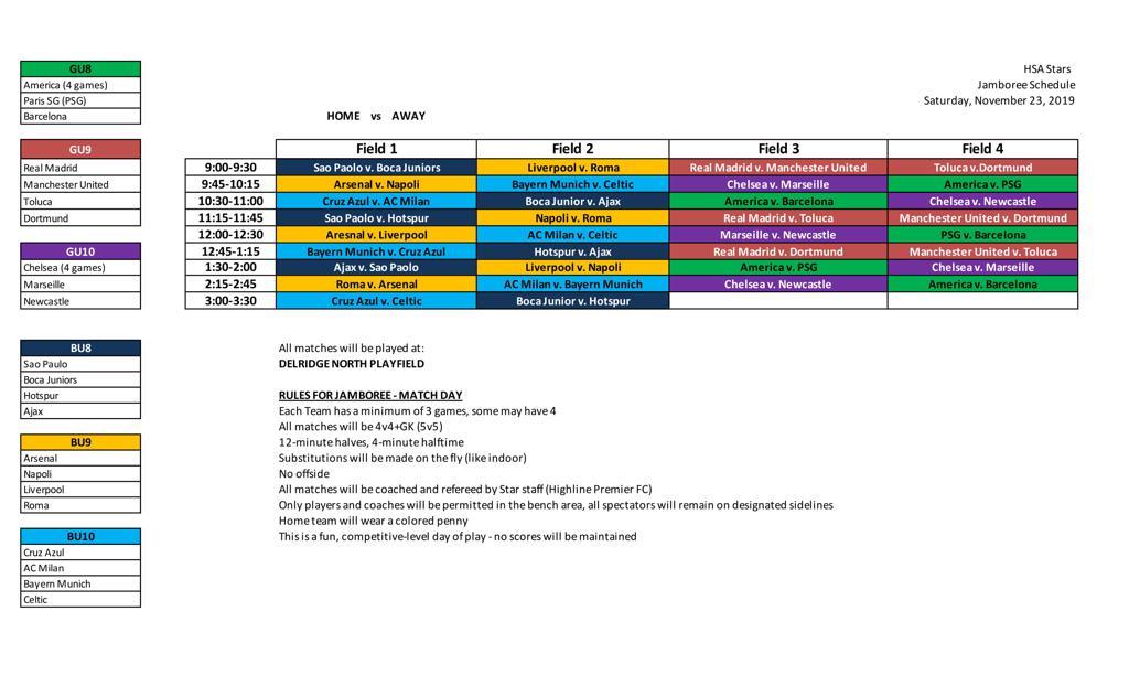 HSA Stars Schedule
