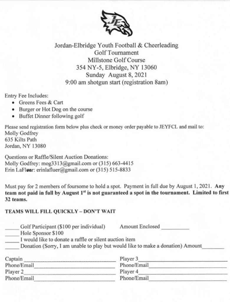 JEYFCL is hosting a golf tournament! Please see the attached flyer
