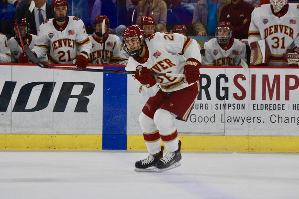 Willy's twin brother Jack Doremus (pictured) followed older brother Daniel's example of going to the University of Denver, where he's now in his senior season. Photo courtesy of Denver Athletics