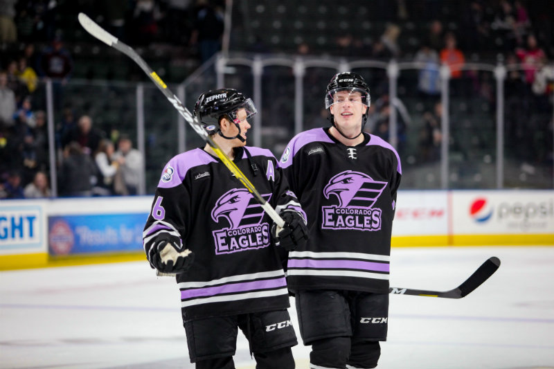 The Colorado Eagles are one of 28 AHL teams that opened training camp this week. The team begins its pandemic-shortened 2021 regular season on Feb. 5 against Stockton. Photos courtesy of the Colorado Eagles