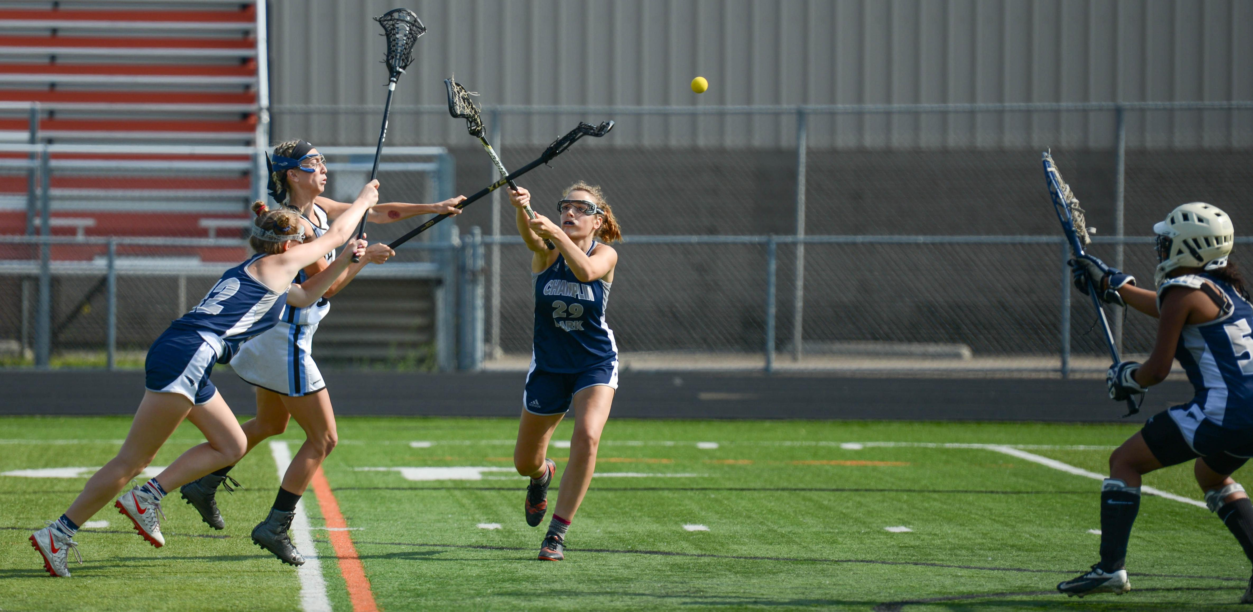 Blaine midfielder Abby Jones sends a shot onto goal against Champlin Park in the Section 7 championship game. Photo by Carter Jones, SportsEngine