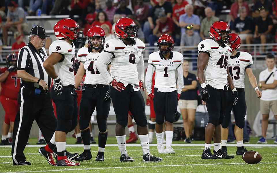 Eden Prairie has dominated the line of scrimmage for much of the season en route to a 5-0 record and No. 2 ranking in Class 6A. It'll face a big challenge in the Knights on Wednesday. Photo by Jeff Lawler, SportsEngine