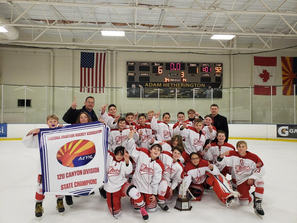 CONGRATULATIONS TO THE Missions 12U Red team the 2018-19 ARIZONA TRAVEL HOCKEY  STATE CHAMPIONS