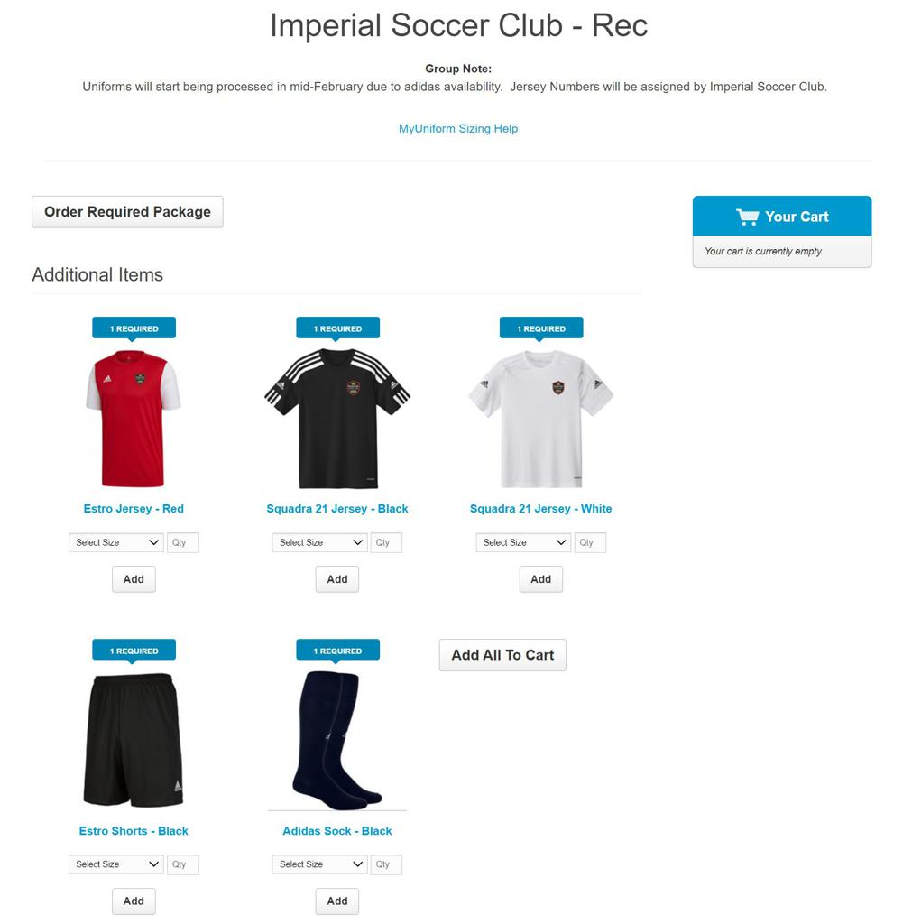 Recreational Soccer - Uniforms at Soccer4All