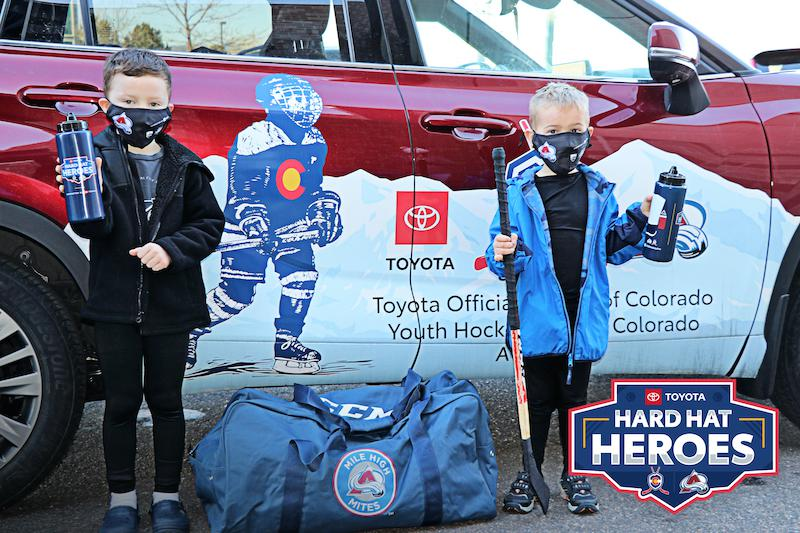 Face masks and water bottles are being distributed to youth hockey players to help prevent the spread of COVID-19. The items are a key component of Rink Aid, an initiative supported by the Toyota Hard Hat Heroes program.