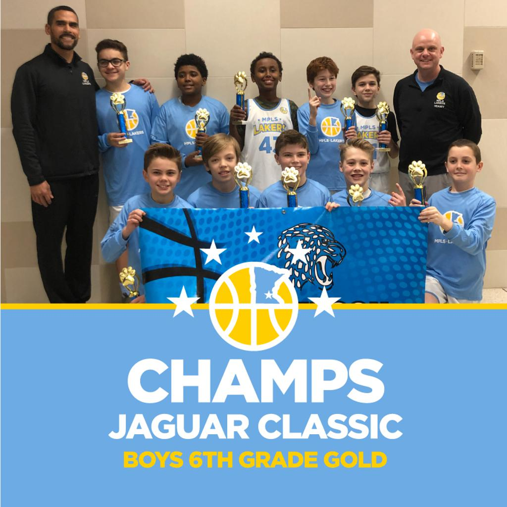 Minneapolis Lakers Boys 6th Grade Gold pose with their first place medals at the Jefferson Jaguar Classic in Bloomington, MN