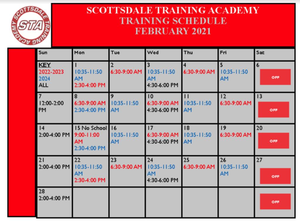 STA February Training Schedule 2021