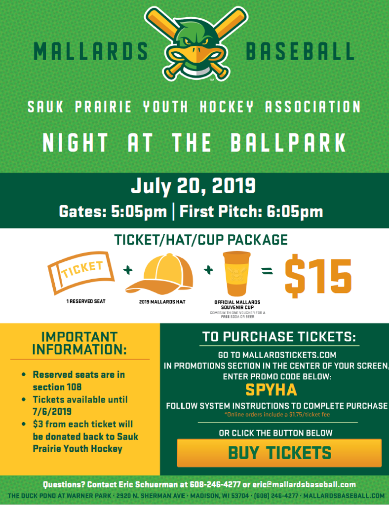 Sauk Prairie Youth Hockey Night at the Ballpark with the Mallards, July 20th