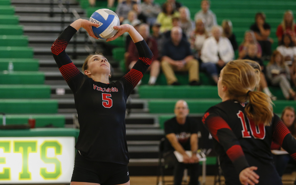 North Branch junior Paige Sheehan sets up a play at the net against Southwest Christian during the Breakdown Sports Side Out Classic at Edina High School. The Vikings defeated the Stars in five sets. Photo by Jeff Lawler, SportsEngine